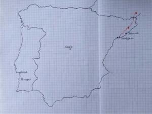 Reisekarten Spanientour 2015